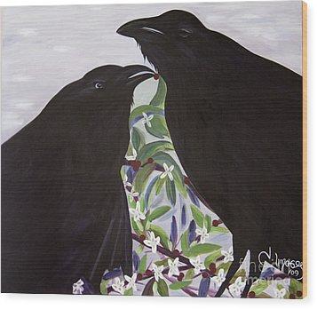 Ravens Song Wood Print