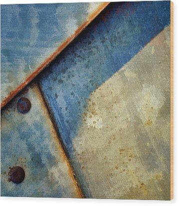 Raw Steel...blue Wood Print