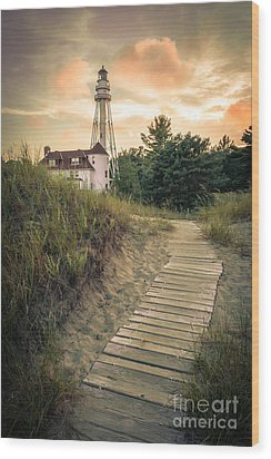 Wood Print featuring the photograph Rawley Point Lighthouse Under Smoldering Skies by Mark David Zahn