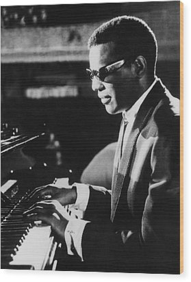 Ray Charles At The Piano Wood Print by Underwood Archives