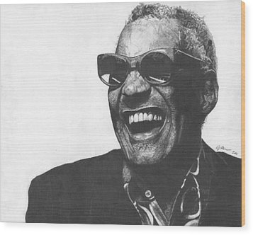 Ray Charles Wood Print by Jeff Ridlen