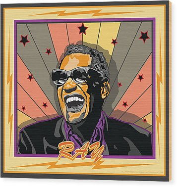 Ray Charles Wood Print by Larry Butterworth