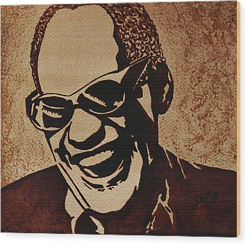 Ray Charles Original Coffee Painting Wood Print by Georgeta  Blanaru