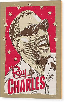Ray Charles Pop Art Wood Print