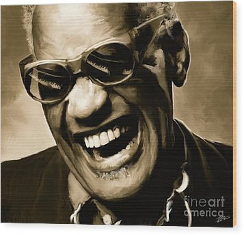 Ray Charles - Portrait Wood Print by Paul Tagliamonte