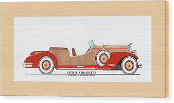 Ray Dietrich Packard Victoria Roadster Concept Design Wood Print by Jack Pumphrey