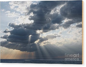 Rays And Clouds Wood Print