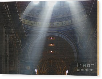 Rays Of Hope St. Peter's Basillica Italy  Wood Print by Bob Christopher