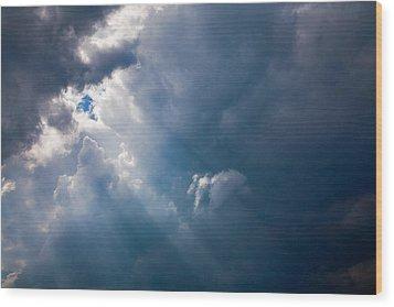 Rays Of Sunshine Through Dark Clouds Wood Print by Natalie Kinnear