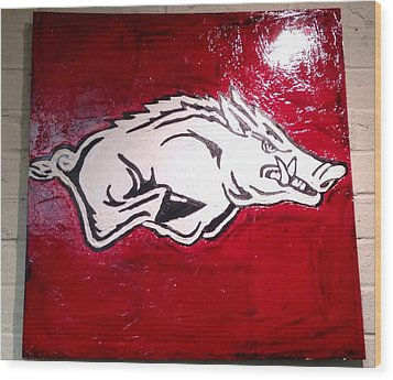 Razorback Painting Art Wood Print by Dawn Bearden