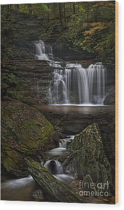 Rb Ricketts Falls Wood Print by Roman Kurywczak