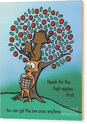 Wood Print featuring the drawing Reach For The High Apples by Pet Serrano