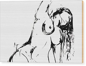 Wood Print featuring the drawing Reach by Helen Syron