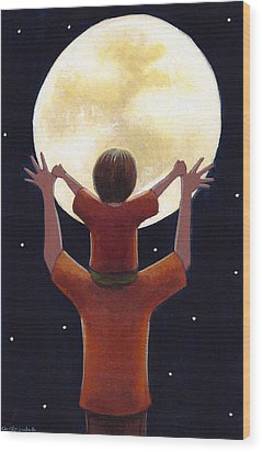 Reach The Moon Wood Print by Christy Beckwith