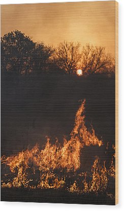 Reaching Flames Wood Print by Scott Bean