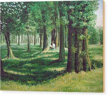 Wood Print featuring the painting Reader In The Park by Laila Awad Jamaleldin