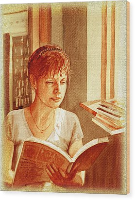 Wood Print featuring the painting Reading A Book Vintage Style by Irina Sztukowski