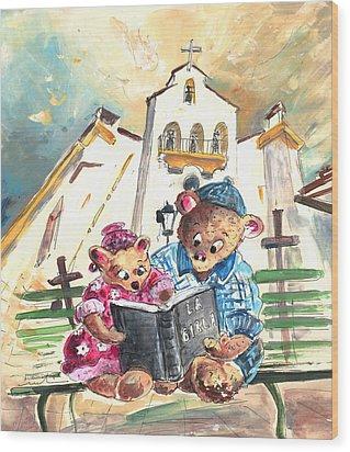 Reading The Bible In La Iruela In Spain Wood Print by Miki De Goodaboom