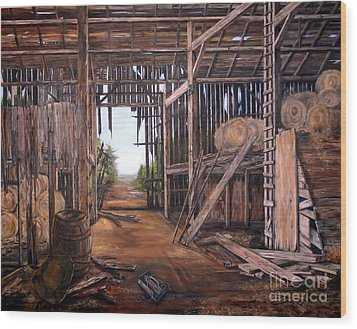 Wood Print featuring the painting Reads Barn Hwy 124 by Anna-maria Dickinson