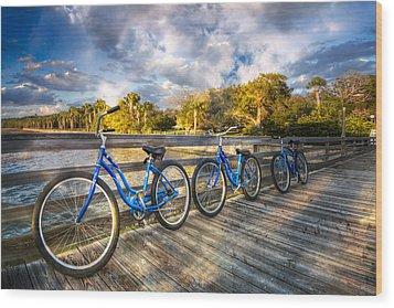 Ready To Ride Wood Print by Debra and Dave Vanderlaan