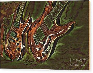 Ready To Rock Digital Guitar Art By Steven Langston Wood Print by Steven Lebron Langston