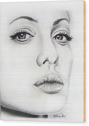 Real Angelina Wood Print by Atinderpal Singh