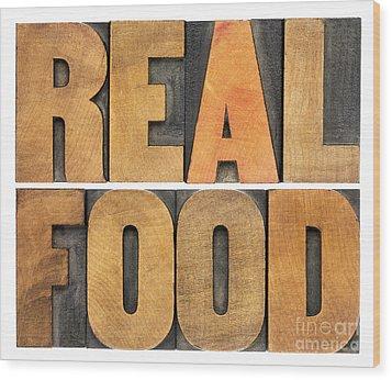 Real Food Wood Print