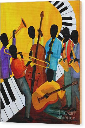 Real Jazz Octet Wood Print by Larry Martin