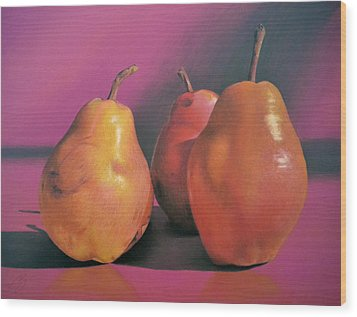 Really Red Pears Pastel Wood Print