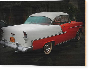 Rear Quarter Of A 1955 Masterpiece Wood Print by Kathy Peltomaa Lewis