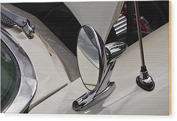 Rear View Wing Mirror Chrome Wood Print by Mick Flynn