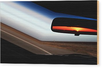Rearview Sunset Wood Print
