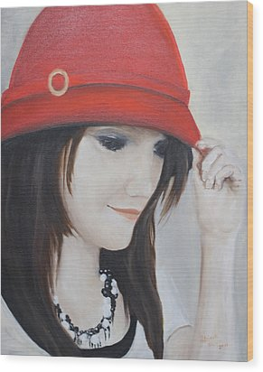 Rebecca's Red Hat Wood Print by Patricia Olson