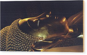 Wood Print featuring the photograph Reclining Buddha by Mary Bedy