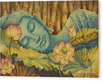 Reclining Buddha Wood Print by Yuliya Glavnaya