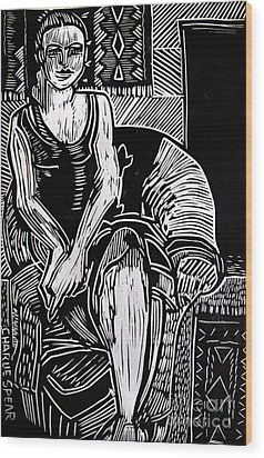 Reclining Wood Print by Charlie Spear