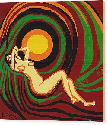 Reclining Nude Wood Print by Anand Swaroop Manchiraju