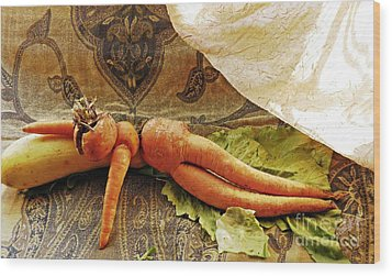 Reclining Nude Carrot Wood Print by Sarah Loft