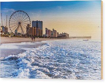 Recreation Beach Sunrise Wood Print by Kirk Strickland