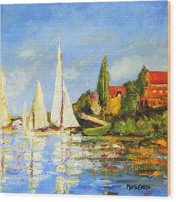 Recreation Of Boating At Argenteuil Wood Print by Marti Green