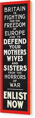 Recruiting Poster - Britain - Defend Women Wood Print by Benjamin Yeager