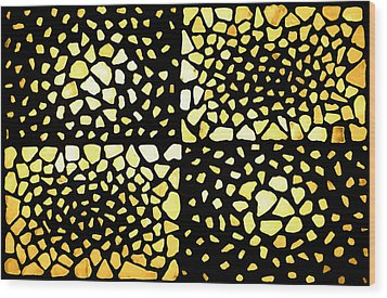 Wood Print featuring the mixed media Rectangles by Kjirsten Collier