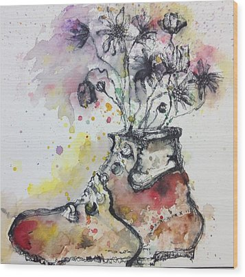 Recycle Shoes Wood Print by Isaac Alcantar