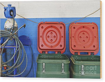 Recycling Bins And Gas Bottles Wood Print by Sami Sarkis