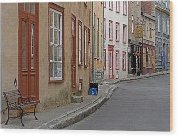 Recycling On Rue Couillard In Quebec City Wood Print by Juergen Roth