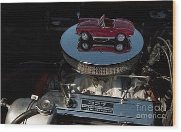 Red 1962 Chevrolet Corvette - Engine 327 - 300 Wood Print by Liane Wright