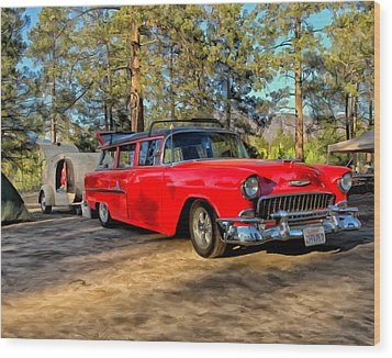Wood Print featuring the painting Red '55 Chevy Wagon by Michael Pickett
