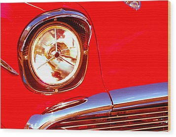 Red 57 Chevy Close Up Wood Print