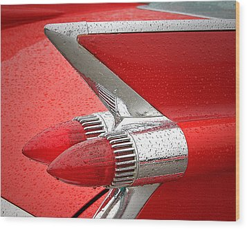 Red '59 Caddy Tail Wood Print by Christopher McKenzie