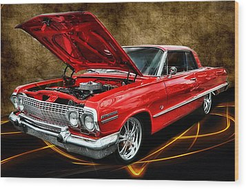 Red '63 Impala Wood Print by Victor Montgomery